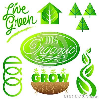 Green Ecology Clip Art Set/eps