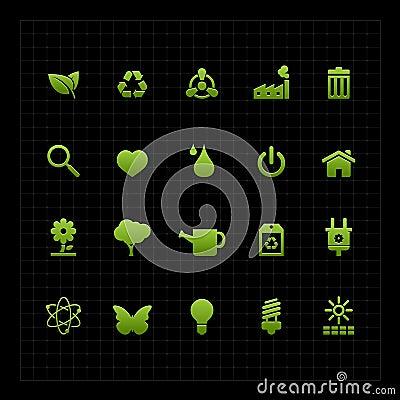 Green ecology icon set icon black background