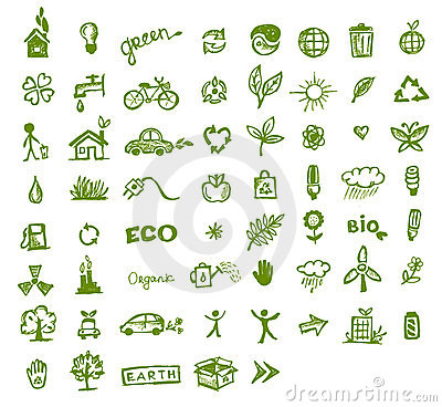 Free Green Ecology Icons For Your Design Royalty Free Stock Photography - 20886567