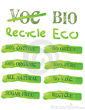 Green Ecology Icons and labels