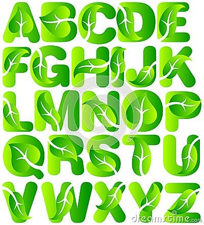 Green Ecology Leaf Alphabet/eps