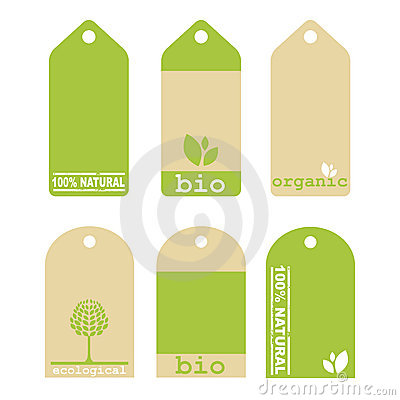 Green ecology tags Vector Illustration