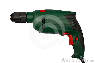 Green electric drill without handle
