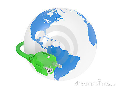 Green electric plug and earth
