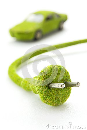 Green electric plug with eco car icon