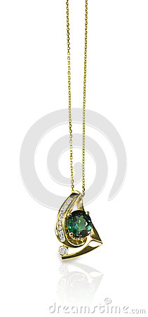 Free Green Emerald And Diamond Pendant Necklace Royalty Free Stock Image - 40298926