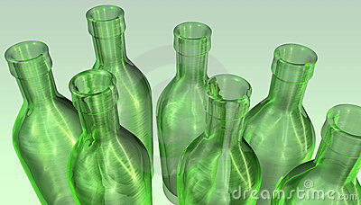 Green empty bottles
