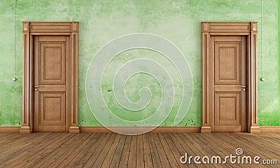 Green empty vintage room