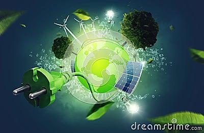 Green Energy Cartoon Illustration