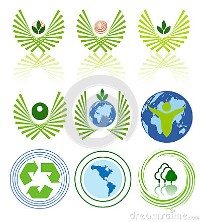 Green energy icon set