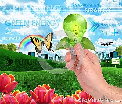 Green Energy Light Bulb Background