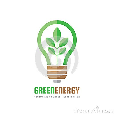 Free Green Energy - Vector Business Logo Template Concept Illustration In Flat Style. Abstract Lightbulb Creative Sign. Electric Power Royalty Free Stock Images - 109498249