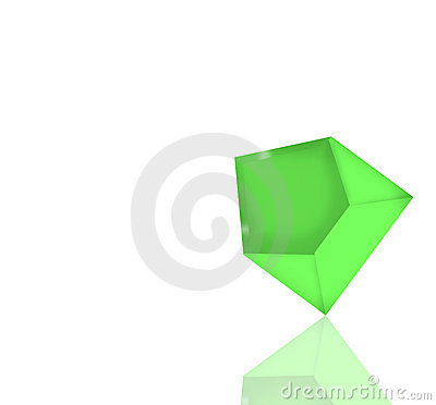 Green envelope with reflection and clipping path