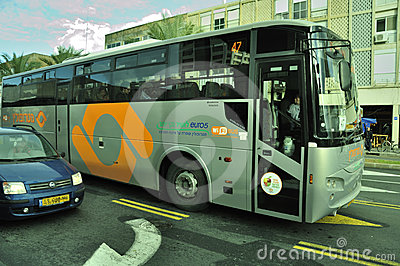 Green , environment friendly bus Editorial Stock Photo