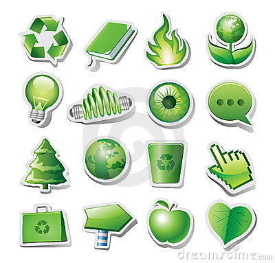 Green environmental icons