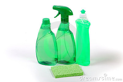Green environmentally friendly cleaning products