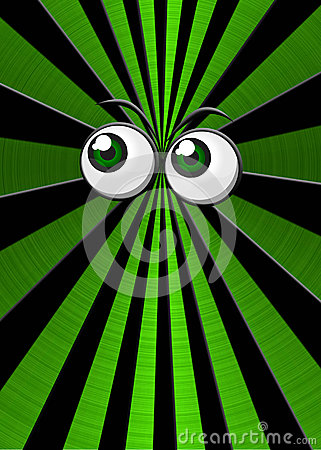 Green eyeballs on star burst background