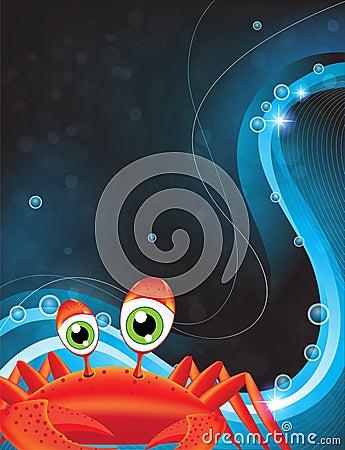 Green-eyed cartoon crab