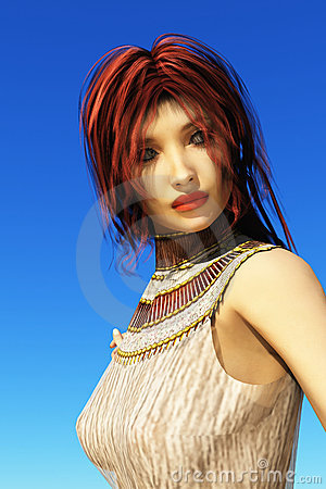 Green eyed flame haired CGI girl