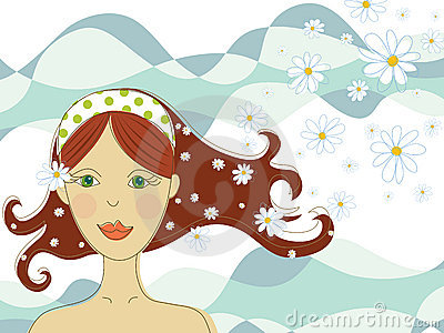 Green eyed girl with flowers in spa