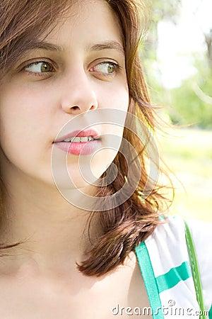 Green-eyed girl looks