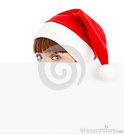 Free Green-eyed Santawoman Peeking Over Blank Billboard Stock Photos - 16813633
