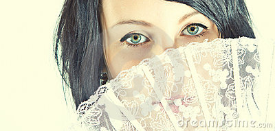 Green eyes of woman