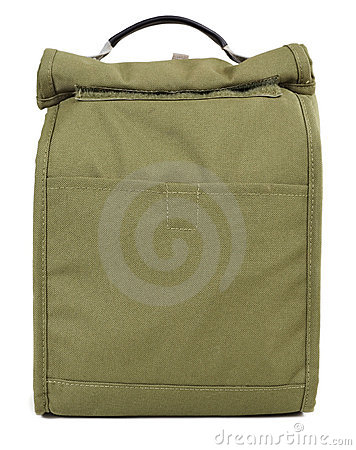 Green fabric lunch sack