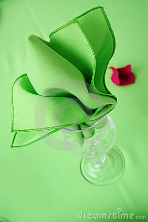 Green fabric napkin