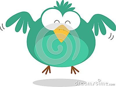 Green Fat Bird Flying