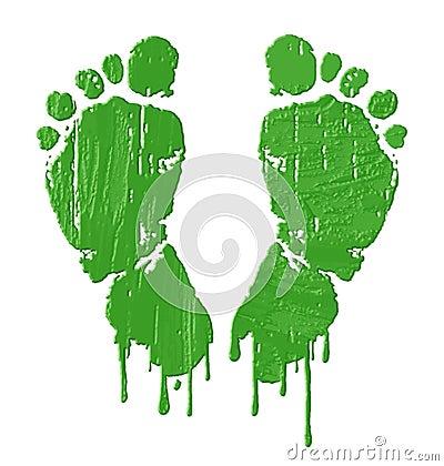 Green feet prints