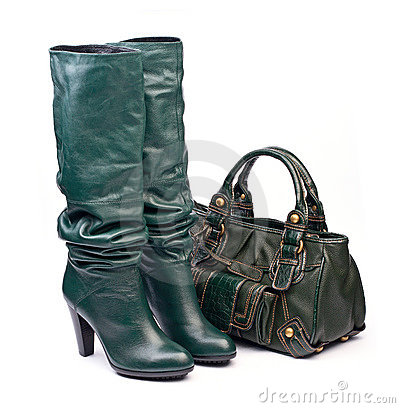 Free Green Female High-heeled Boots And Leather Bag Royalty Free Stock Images - 16670089
