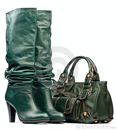 Free Green Female High-heeled Boots And Leather Bag Stock Image - 16670101
