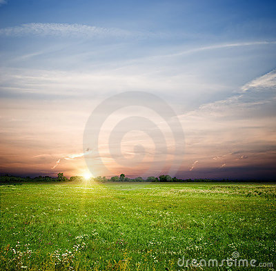 Free Green Field And Sunrise Stock Photography - 13967712