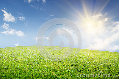 Green field of   grass and perfect cloudy sky