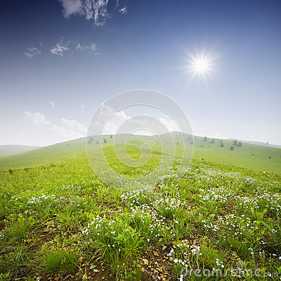 Green field with  white clouds
