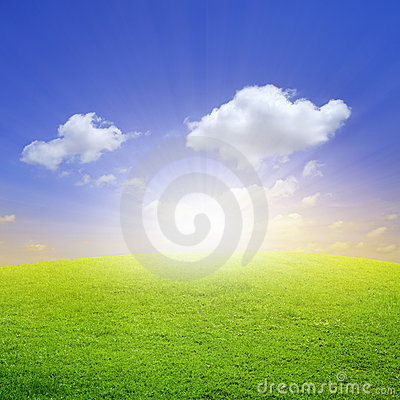 Green field wit beautiful blue sky