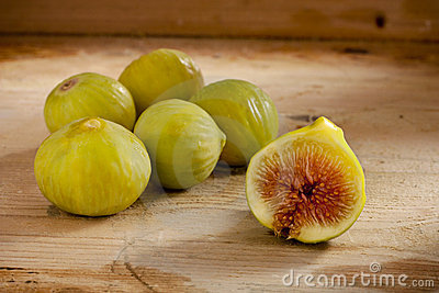 Green Figs on Wood