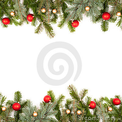 Green fir twig frame with christmas balls