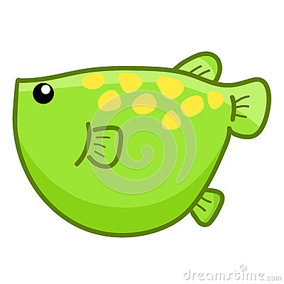 Green fish cute cartoon