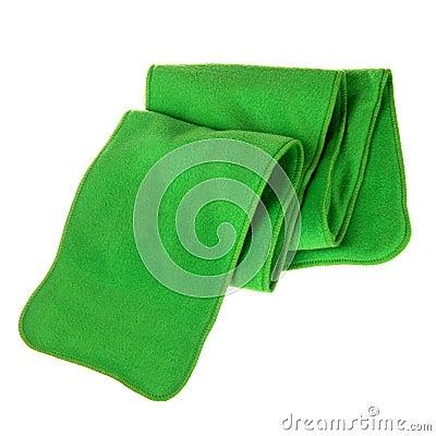 Green fleece folded scarf