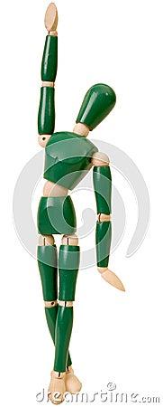 Green flexible wooden doll