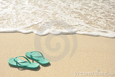 Green Flip Flops on Beach