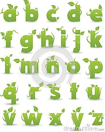 Green floral alphabet