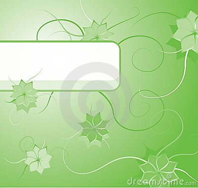 Green floral background with blank label