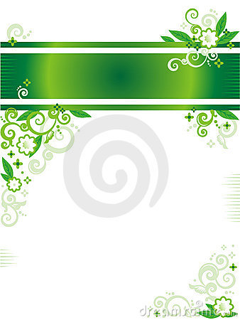 Green floral banner or letterhead and corner