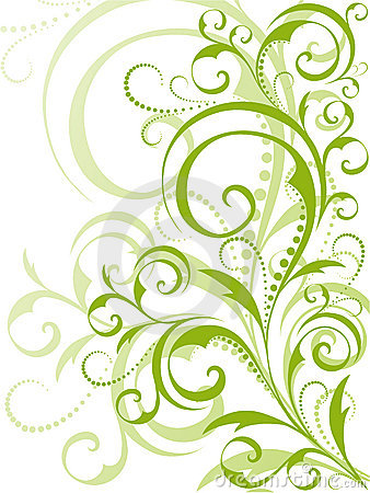 Free Green Floral Design On White Background Stock Images - 8462034
