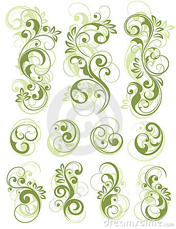 Free Green Floral Designs On White Royalty Free Stock Images - 8535009