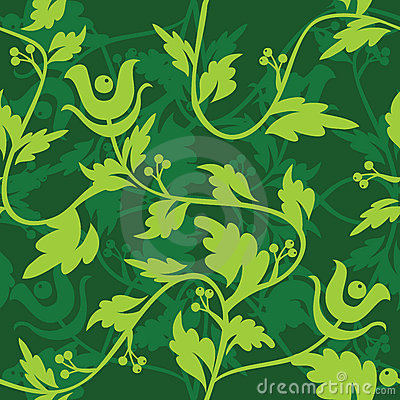 Green floral seamless patter