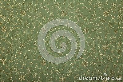 Green floral twirls handmade art paper